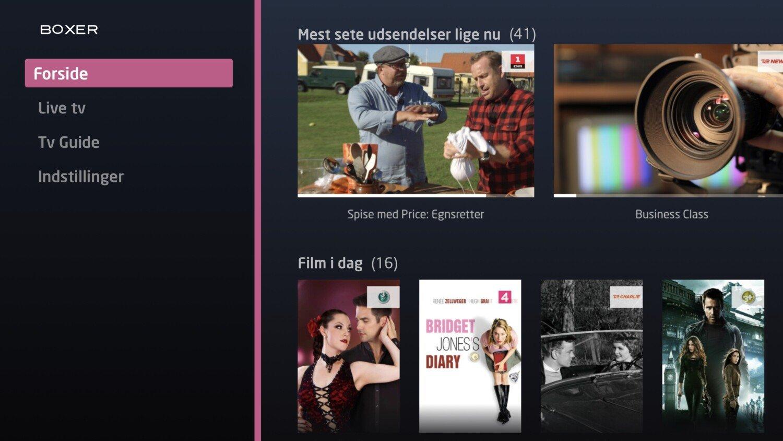 Boxer WebTV menu