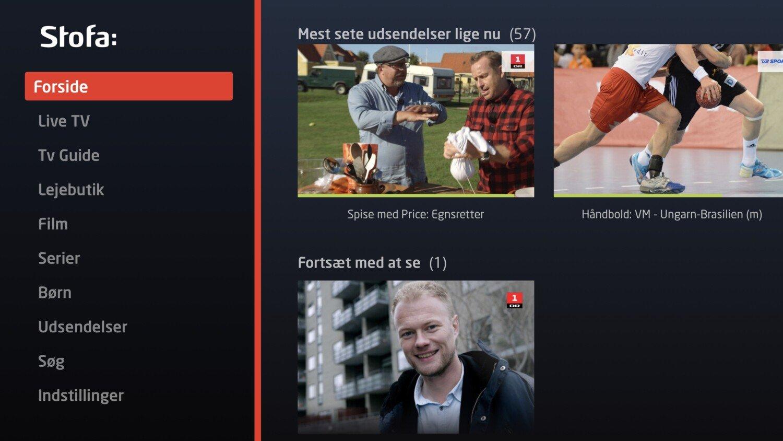 Stofa WebTV menu