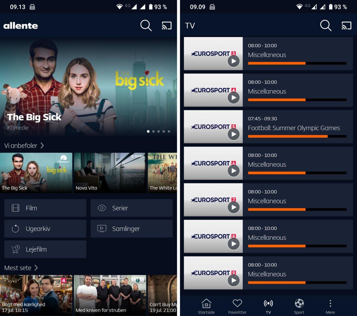 allente app Eurosport Screenshot
