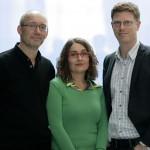 Niels Krause-Kjær, Frederikke Ingemann og Martin Krasnik er værter på DR2, den nye samfundskanal. Foto: Lone Kröning Mogensen