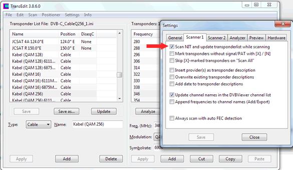 Netværksscanning DVBViewer Transedit