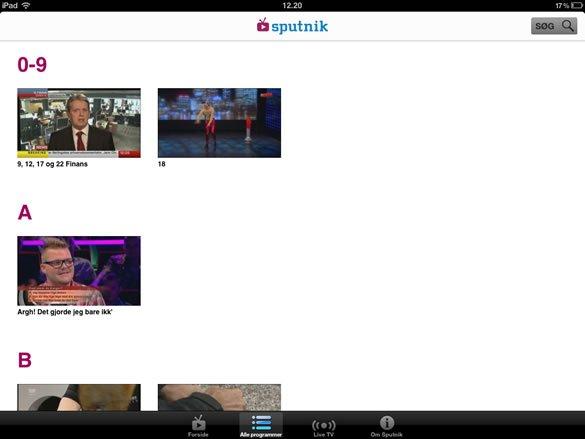 TV 2 Sputnik iPad indhold