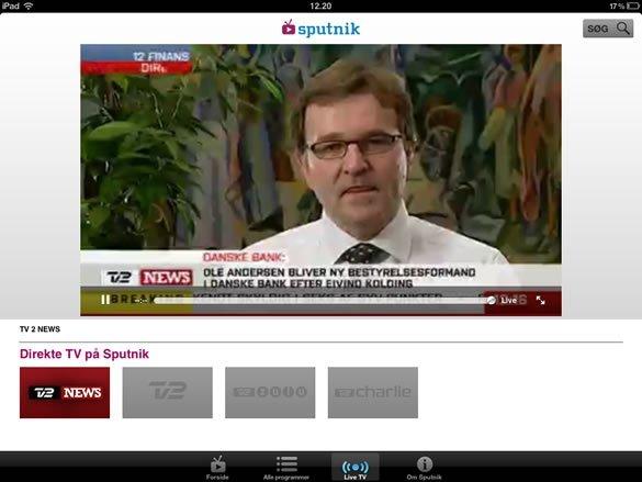 TV 2 Sputnik live tv ipad